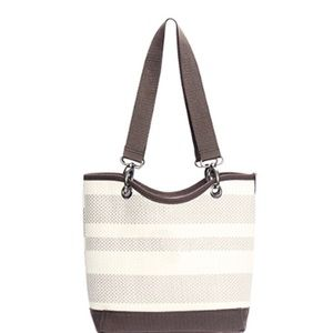 Thirty One Canvas Mini in Taupe Straw Stri…
